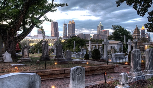 View of the downtown Atlanta skyline from Oakland Cemetery.